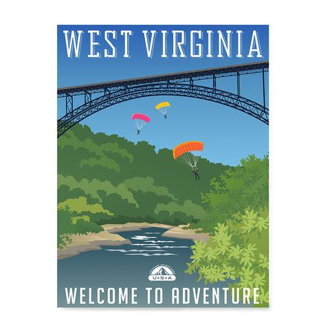 WEST VIRGINIA Retro Travel Poster