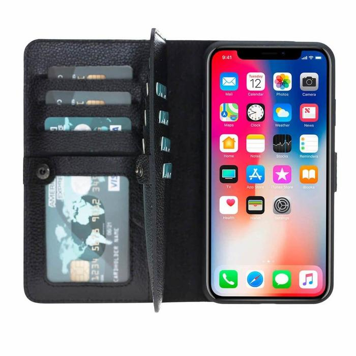 Windsor Bi-Fold Magnetic Detachable Leather Wallet Case For Apple iPhone XS Max