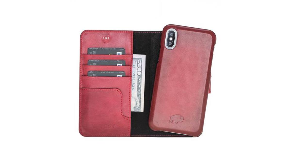 Pieno Full Leather Covered Magnetic Detachable Wallet Case for Apple iPhone XS Max