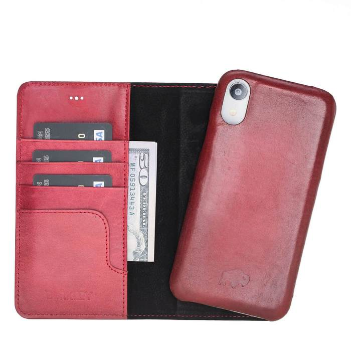 Pieno Full Leather Covered Magnetic Detachable Wallet Case for Apple iPhone XR