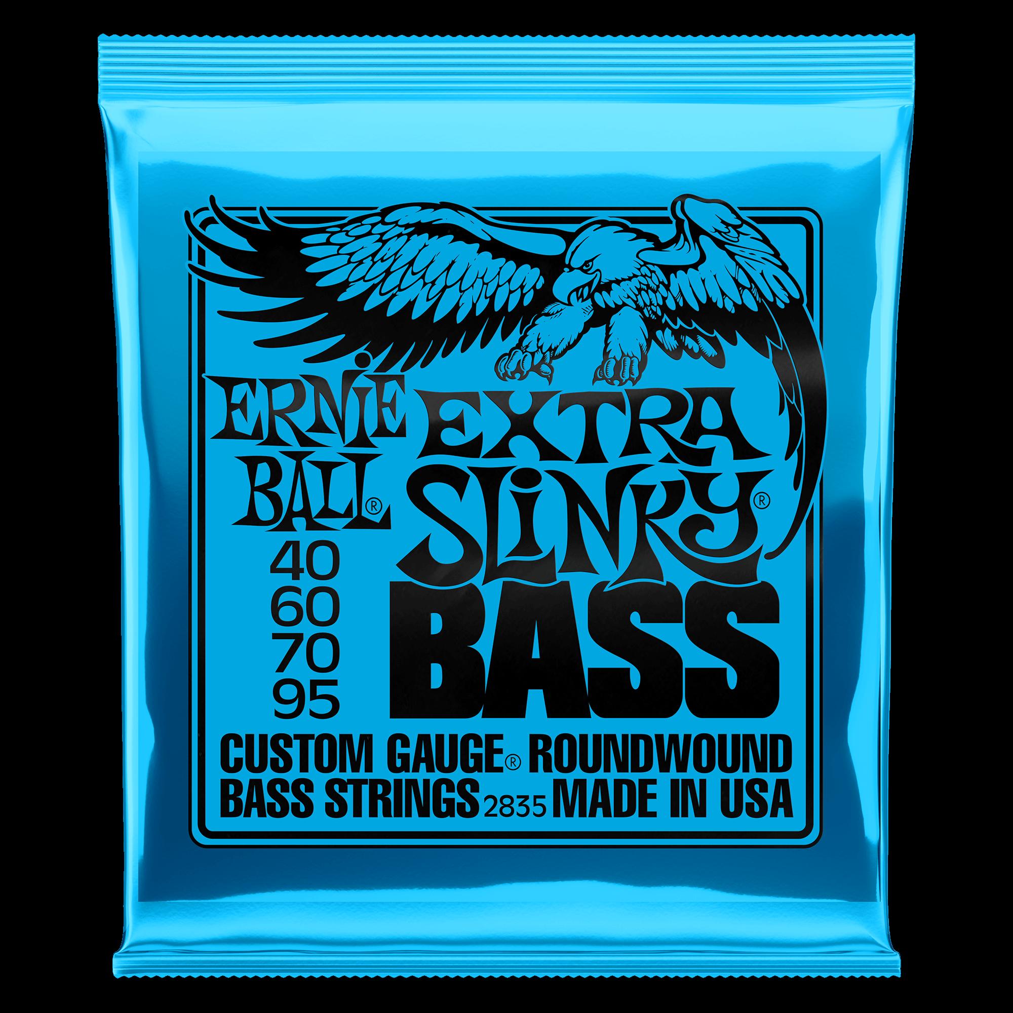 Calibre 40-95 Cordes basse /électrique Ernie Ball Extra Slinky Cobalt