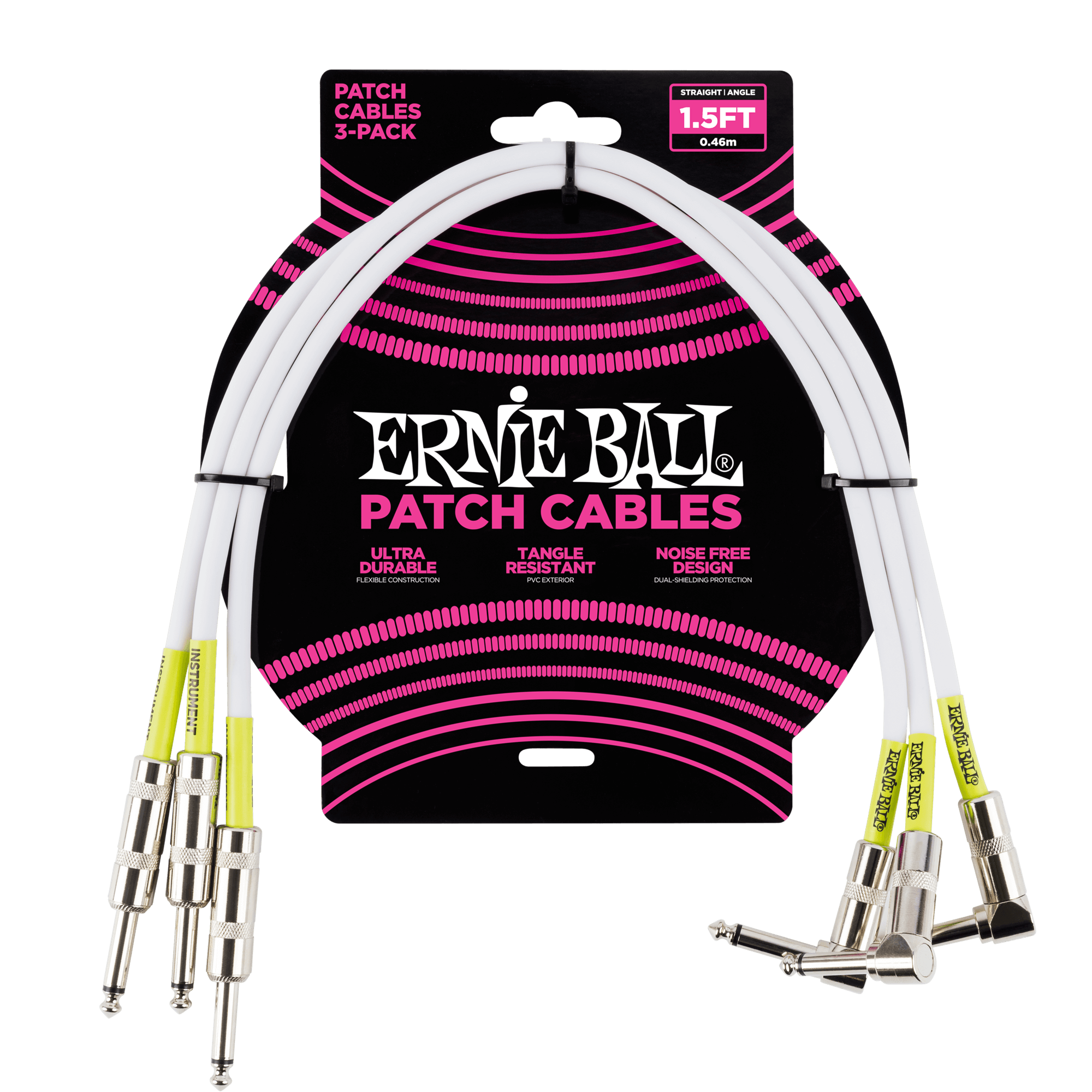 Lead 6059 Ernie Ball 6 inch 3-Pack Black Pancake Jacks Patch Cables
