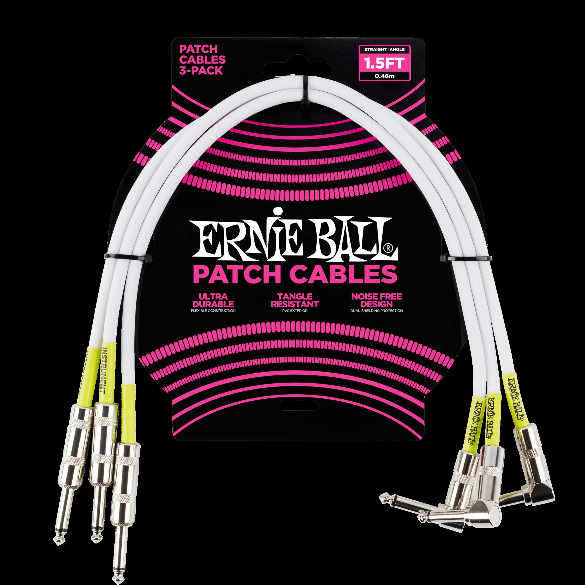 Ernie Ball 6075 Patchkabel 30 cm 3er Pack Winkelklinkenstecker PVC-Mantel Black