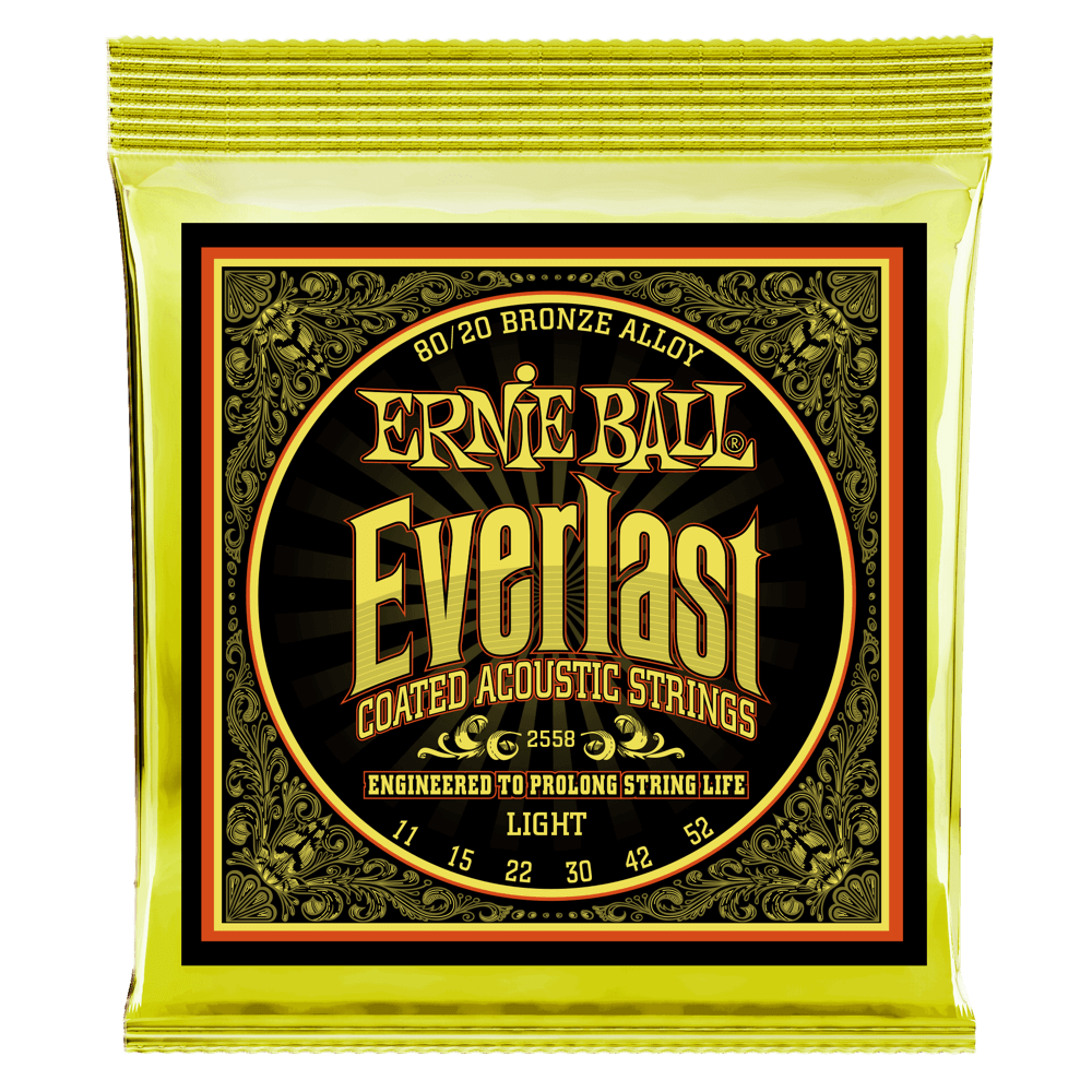 Everlast Light Coated 80/20 Bronze Acoustic Guitar Strings - 11-52 Gauge