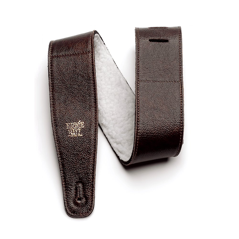 "2.5"" Adjustable Italian Leather Strap with Fur Padding - Chestnut"