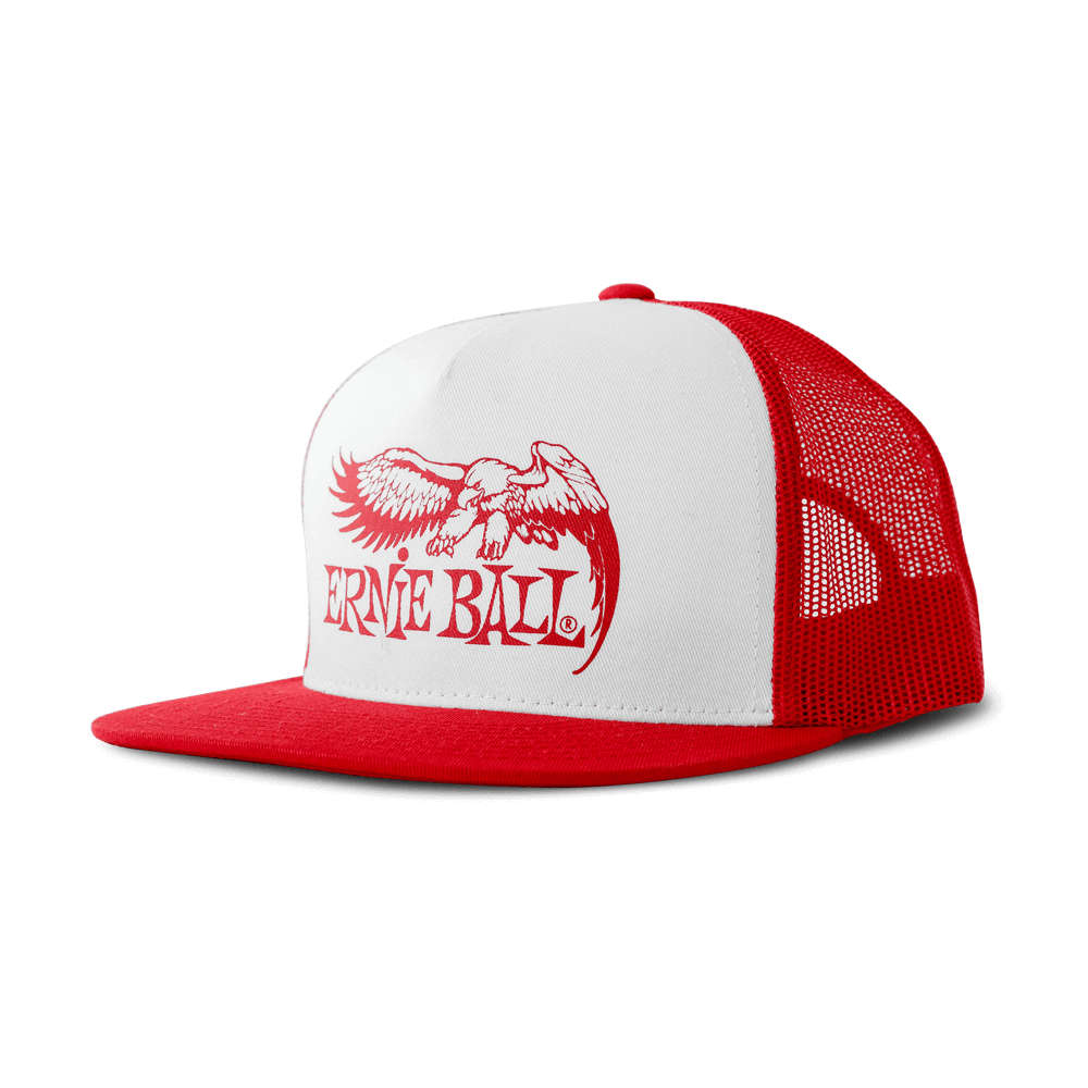 Red with White Front and Red Ernie Ball Eagle Logo Hat
