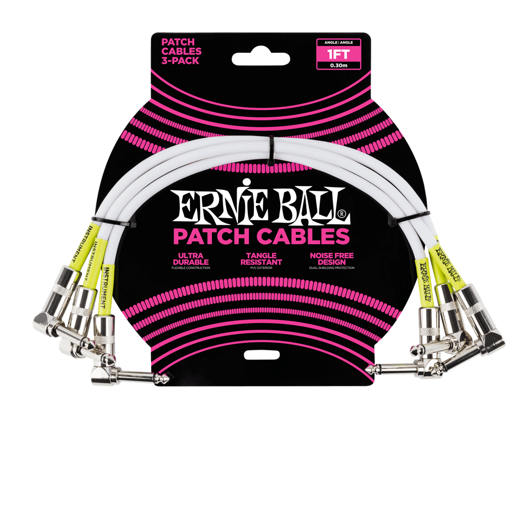 1' Angle / Angle Patch Cable 3-Pack - White Front