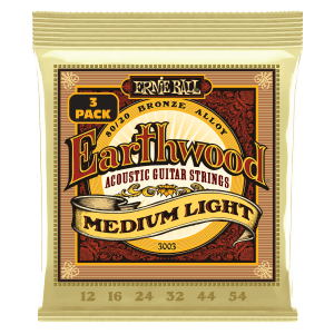Earthwood Medium Light 80/20 Bronze Acoustic Guitar Strings 3 Pack - 12-54 Gauge Thumb