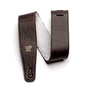 "2.5"" Adjustable Italian Leather Strap with Fur Padding - Chestnut Thumb"