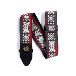 Ernie Ball Blackjack Red Jacquard Strap Thumb
