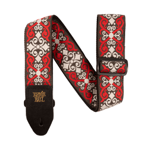 Ernie Ball Red Trellis Jacquard Strap Thumb
