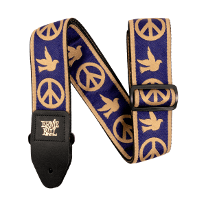Ernie Ball Navy Blue and Beige Peace Love Dove Jacquard Strap Thumb