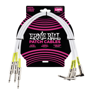 1.5' Straight / Angle Patch Cable 3-pack - White Thumb