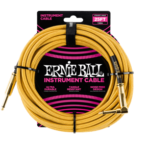 25' Braided Straight / Angle Instrument Cable - Gold / Gold Thumb
