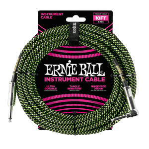 10' Braided Straight / Angle Instrument Cable - Black / Green Thumb