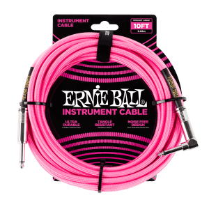 10' Braided Straight / Angle Instrument Cable - Neon Pink Thumb
