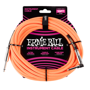 10' Braided Straight / Angle Instrument Cable - Neon Orange Thumb