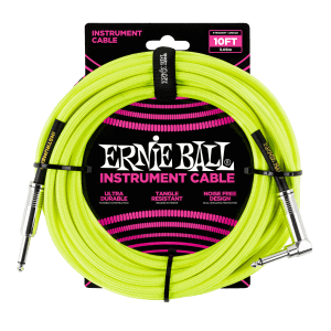 10' Braided Straight / Angle Instrument Cable Neon - Yellow Thumb