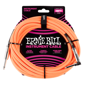 18' Braided Straight / Angle Instrument Cable - Neon Orange Thumb