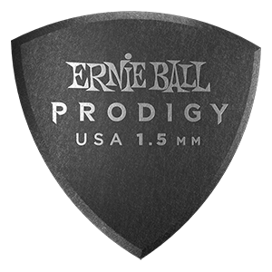 Ernie Ball 1.5mm Black Large Shield Prodigy Picks 6-pack Thumb