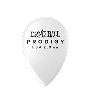 Ernie Ball 2.0mm White Teardrop Prodigy Picks 6-pack Thumb