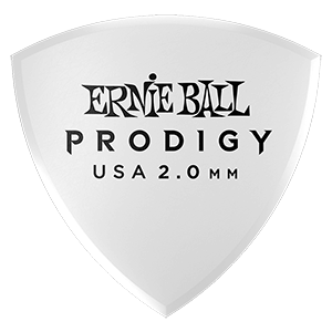 Ernie Ball 2.0mm White Large Shield Prodigy Picks 6-pack Thumb