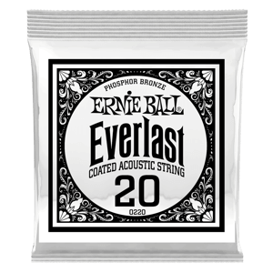 .020 Everlast Coated Phosphor Bronze Acoustic Guitar Strings 6 Pack Thumb