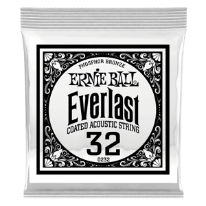 .032 Everlast Coated Phosphor Bronze Acoustic Guitar Strings 6 Pack Thumb