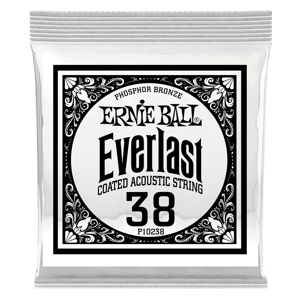 .038 Everlast Coated Phosphor Bronze Acoustic Guitar Strings 6 Pack Thumb