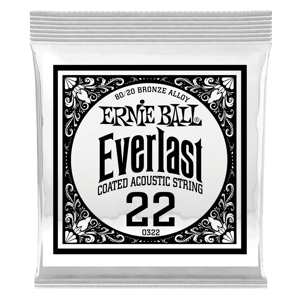 .022 Everlast Coated 80/20 Bronze Acoustic Guitar Strings 6 Pack Thumb