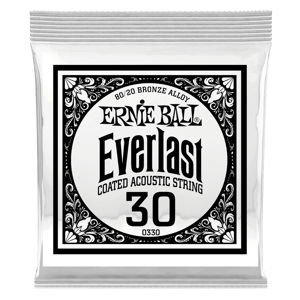 .030 Everlast Coated 80/20 Bronze Acoustic Guitar Strings 6 Pack Thumb