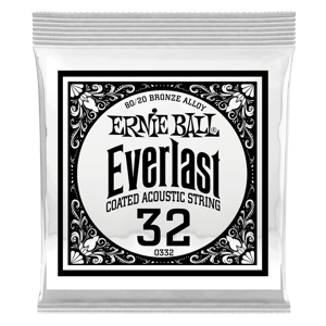 .032 Everlast Coated 80/20 Bronze Acoustic Guitar Strings 6 Pack Thumb