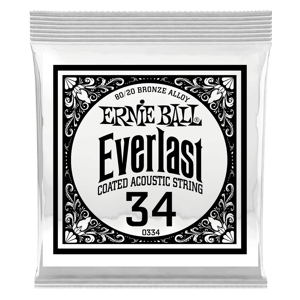 .034 Everlast Coated 80/20 Bronze Acoustic Guitar Strings 6 Pack Thumb