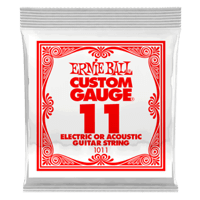 .011 Plain Steel Electric or Acoustic Guitar Strings 6 Pack Thumb
