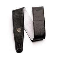 "2.5"" Adjustable Italian Leather Strap with Fur Padding - Black Thumb"
