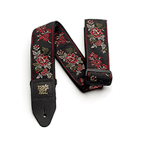 Red Rose Jacquard Guitar Strap Thumb