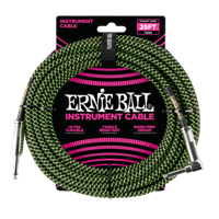 25' Braided Straight / Angle Instrument Cable - Black / Green Thumb