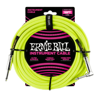 18' Braided Straight / Angle Instrument Cable Neon - Yellow Thumb