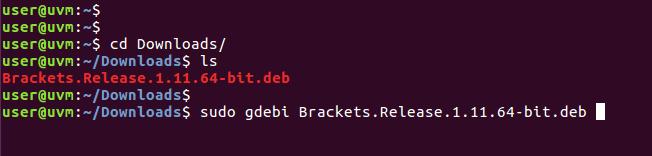Install brackets with gdebi command.