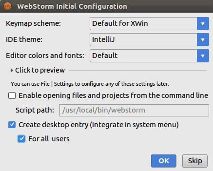 Configure Ubuntu WebStorm