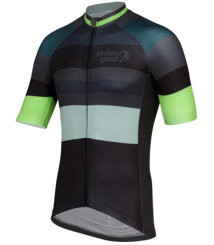 stolen goat slipstream green short sleeve cycling jersey side