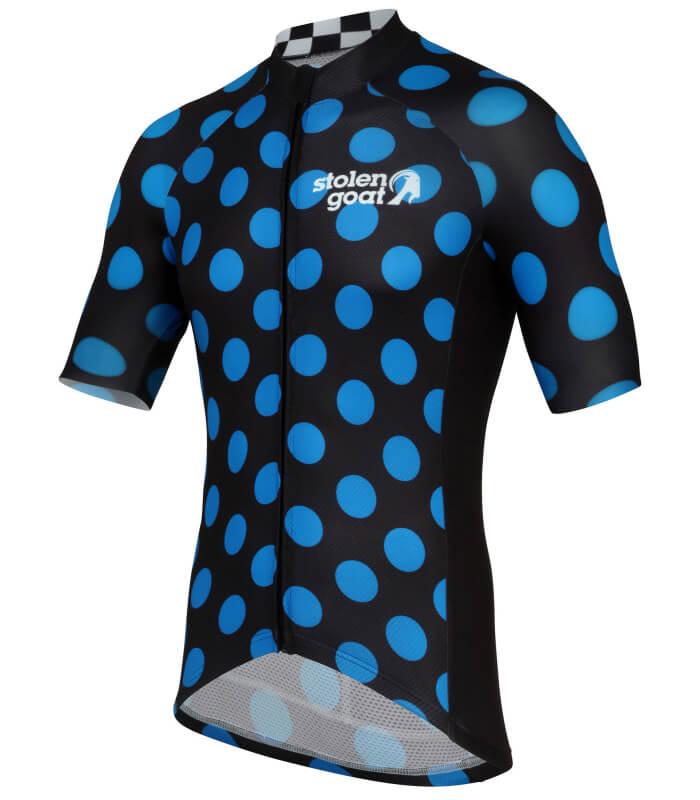 stolen goat polka dot blue mens short sleeve cycling jersey side