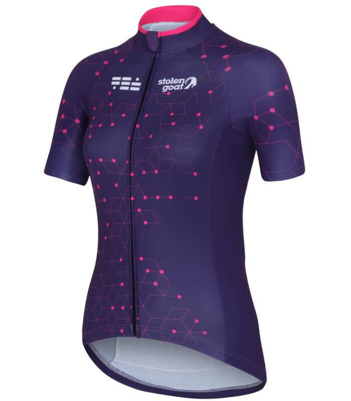 stolen goat purple cycling jersey ladeis intergalactic front