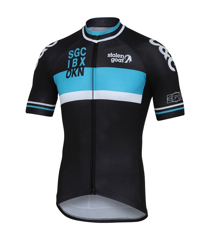 retro cycling jersey in racer blue by stolen goat - mens cycle top