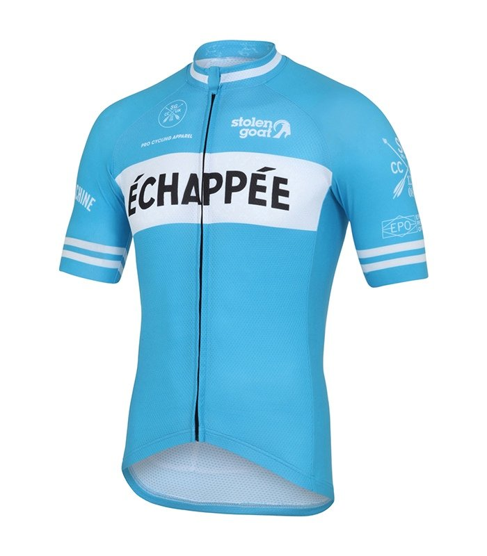retro cycling jerseys - echappee blue by stolen goat