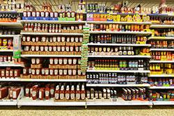 Grocery shelf view