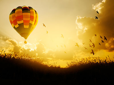 Hot air balloon flying with birds