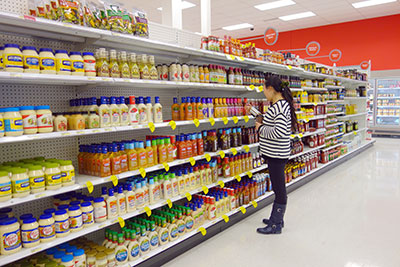 Salad dressings selection in a supermarket