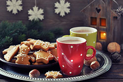 Tray with hot chocolate and ginger biscuits