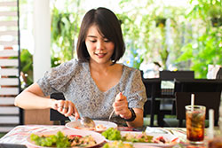 Young woman enjoy eating